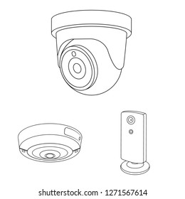 Vector illustration of cctv and camera symbol. Set of cctv and system stock vector illustration.