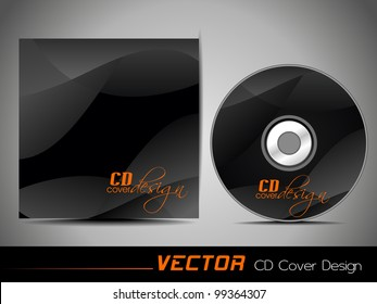 Vector illustration of CD cover design template with copy space in black and orange color. EPS 10, easy to edit.