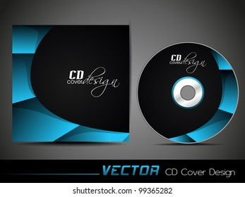 Vector illustration of CD cover design template with copy space in blue and black color. EPS 10, easy to edit.