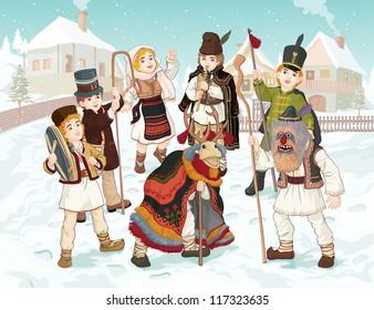 Vector illustration, celebrating winter holidays in Romania, card concept. - Shutterstock ID 117323635