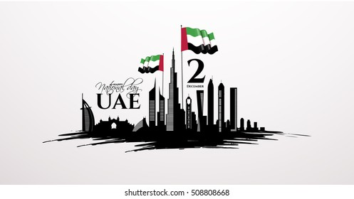 vector illustration celebration Dec. 2 national day of the United Arab Emirates, festive icon UAE