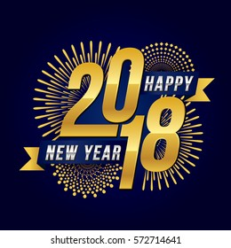 Vector illustration of celebration  fireworks  for  Happy new year 2018 season with gold theme.