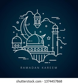 Vector illustration for the celebration of holy month Ramadan with line art design