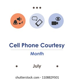 vector illustration for cell phone courtesy month in July