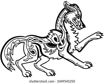 Vector illustration of celtic knot ornamented wolf Fenrir black and white