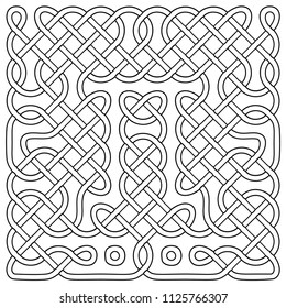 Vector illustration of celtic knot pattern. Abstract complex structure consisting of a smooth curved lines. Black and white ethnic ornament. Suitable as a template for a coloring book