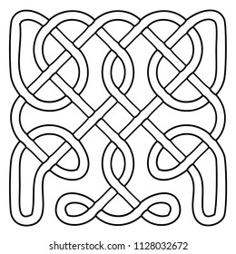 Vector illustration of celtic knot pattern. Abstract complex structure consisting of a smooth curved lines. Black and white ethnic ornament. Suitable as a template for a coloring book.