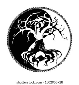 Vector illustration of a Celtic symbol of Yin and yang. Druidic Yggdrasil tree. Sign of harmony and balance. Sacred plant of Vikings. Dark and white. Black tribal tattoo.