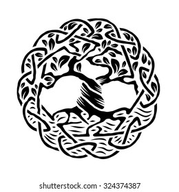 Vector illustration of celtic tree of life, tree Yggdrasil,  black and white version