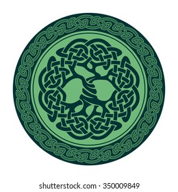 Vector illustration of celtic tree of life, famous tree Yggdrasil