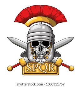 "Vector illustration of centurion human skull with Roman helmet and board with word SPQR, the classic roman empire acronym that means ""senatus populusque romanus"" (The Roman Senate and people)"