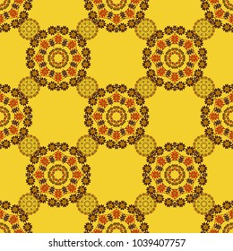 Vector illustration. Ceramic tile with colorful patchwork. Endless can be used for ceramic tile, wallpaper, linoleum, textile. Vintage multicolor seamless pattern in orange, yellow and brown colors.