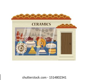 Vector illustration of ceramics shop front. Pottery store showcase. Authentic hand-made crokcery.