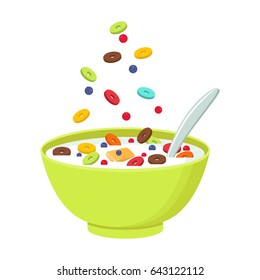 Vector illustration. Cereal bowl with milk isolated on white background. Concept of healthy and wholesome breakfast.
