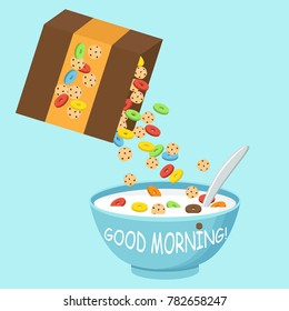 Vector illustration. Cereal bowl with milk, smoothie isolated on white background. Concept of healthy and wholesome breakfast.