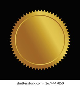Vector illustration certificate 3d GOLD foil seal or medal isolated