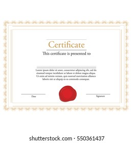 Vector illustration of certificate template with red wax stamp and golden frame. Certificate border. Modern certificate