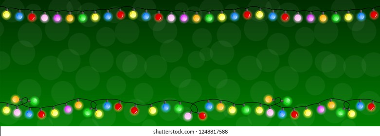 vector illustration of a chain of christmas lights