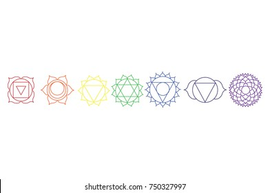 Vector illustration chakra icon set, collection. Yoga, Buddhism symbol