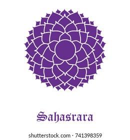 Vector illustration chakra Sahasrara isolated on white background. Crown Chakra