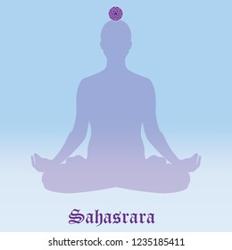 Vector illustration chakra Sahasrara. Silhouette meditating. Practicing yoga. Yoga lotus pose, wellness concept.