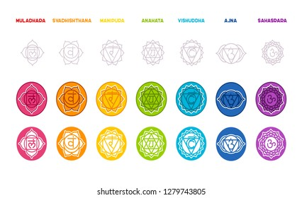 Vector illustration of Chakras set