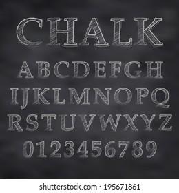 Vector illustration of a chalk alphabet on a blackboard