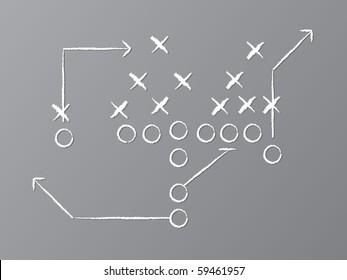 Vektorgrafik von Kreide gezeichnetem Fußballspiel auf Kreide.