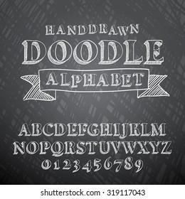 Vector illustration of chalk sketched doodle font characters on a blackboard background