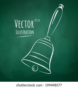 Vector illustration of chalkboard drawing of school bell.