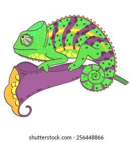 Vector illustration of a chameleon sitting on the flower.