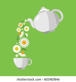 vector illustration of chamomile flowers flowing from teapot for herbal tea concepts