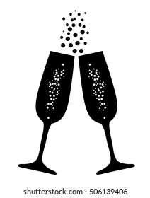 vector illustration of  champagne glasses with bubbles