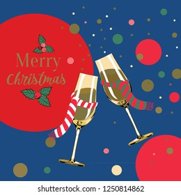 Vector illustration of champagne glasses with christmas scarves on blue background with golden, red and pink bubbles