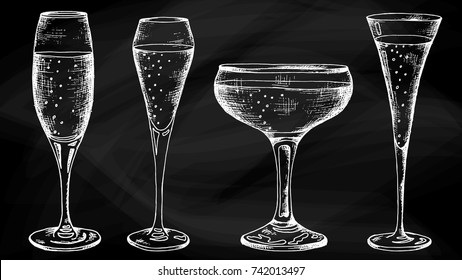 Vector Illustration of Champagne glasses shapes chalkboard sketch style