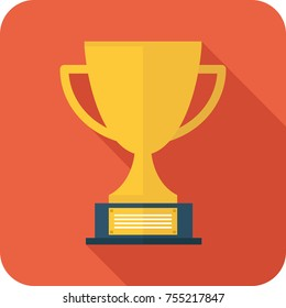 Vector illustration. Champions cup for first place. Prize to the winner. Gold illustration of flat icon.