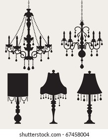 Vector illustration of chandeliers and table lamps.
