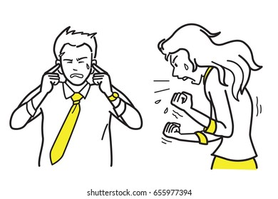 Vector illustration character of angry and furious businesswoman shouting, screaming and yelling to her male partner, businessman who put fingers into ears. Sketch, draw, doodle, design.