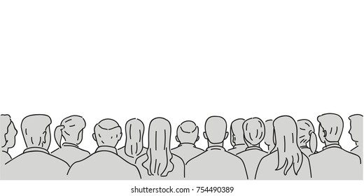Vector illustration character of audience in the conference hall background with blank space for your text and design. Outline, thin line art, linear, doodle, cartoon, hand drawn sketch.