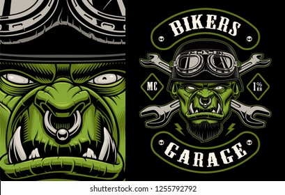 Vector illustration of a character biker with crossed wrenches on the dark background. Layered, text and other elements are on the separate groups.