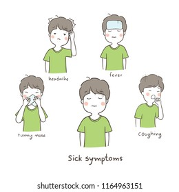Vector illustration character a boy sick symptoms headache fever runny nose and coughing.Isolated on white color.Draw doodle cartoon style.