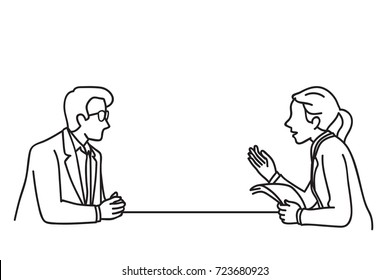 Vector illustration character of businessman and businesswoman at table, making discussion, presentation, planning, cooperation. Outline, linear, contour, line art, doodle, hand drawn sketch design.