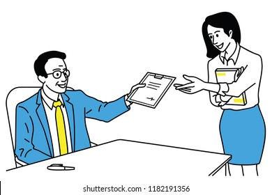Vector illustration character of businessman, manager, sign dontract document and giving back to secretary. Outline, linear, thin line art, hand drawn sketch design, simple style.