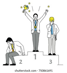 Vector illustration character of businessman, winner who hold trophy in the first place and loser. Outline, linear, thin line art, hand drawn sketch design, simple style.