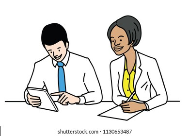 Vector illustration character of businesspeople, man and woman, multi-ethnic, caucasian and African ethnicity, working corporate at office table.