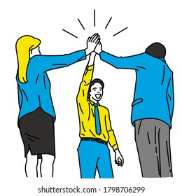 Vector illustration character of businesspeople, man and woman, showing unity teamwork concept with raising and joining hands. Outline, thin line art, linear, hand drawn sketch design, simple style.