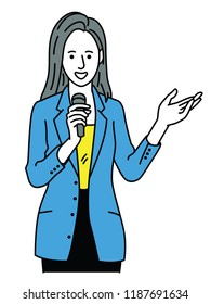 Vector illustration character of businesswoman, speaking, holding microphone, stretching one hand presenting to blank space. Outline, linear, thin line art, hand drawn sketch.
