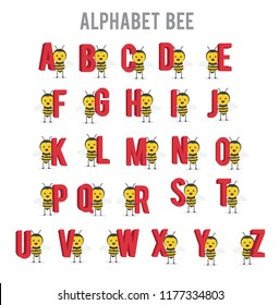 vector illustration character cartoon design cute honey yellow bee mascot holding set alphabet letter in white background