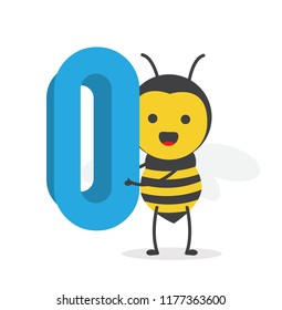 vector illustration character cartoon design cute honey yellow bee mascot holding alphabet number 0 digit in white background