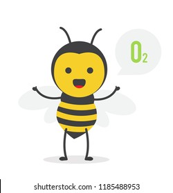 vector illustration character cartoon design cute honey yellow bee mascot talking  oxygen O2 speech bubble in white background